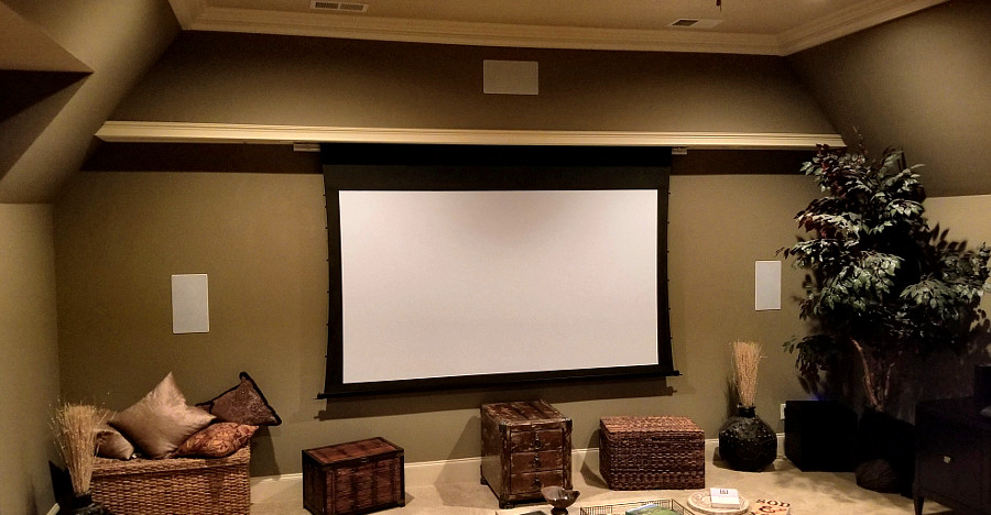 Home Theater with custom built electric screen facade - College Grove, TN